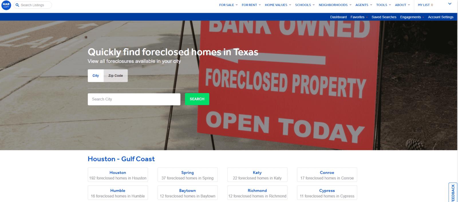 Foreclosure screenshot from Har.com website