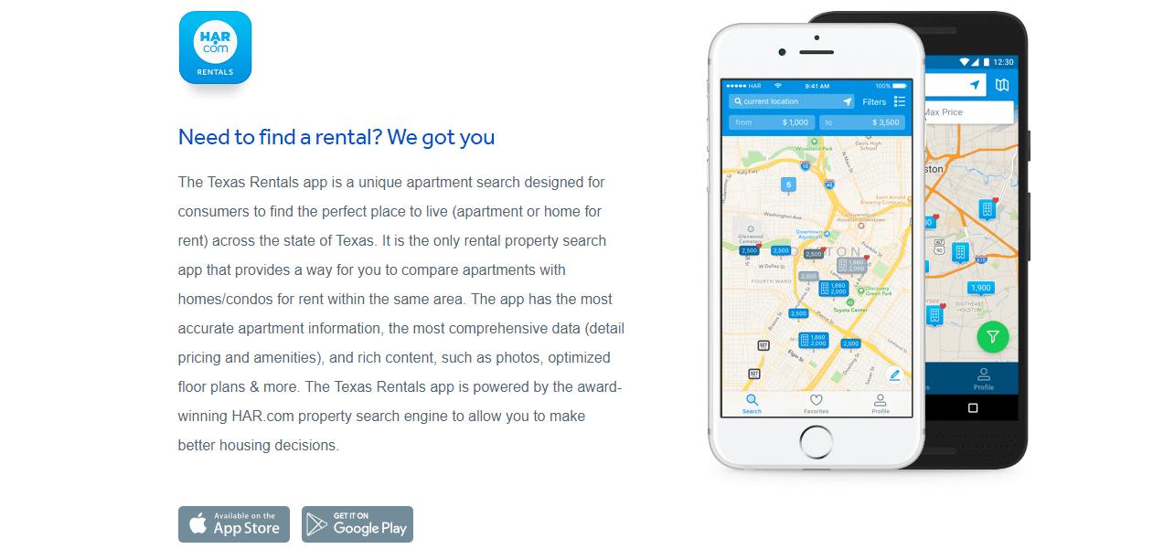 Screenshot of HAR.com's mobile app