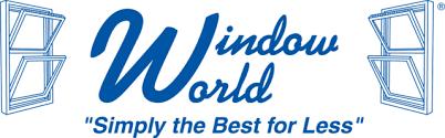 Window world logo with their slogan in blue lettering below