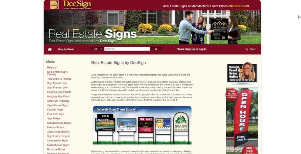 Screenshot of the DeeSign real estate sign ordering portal