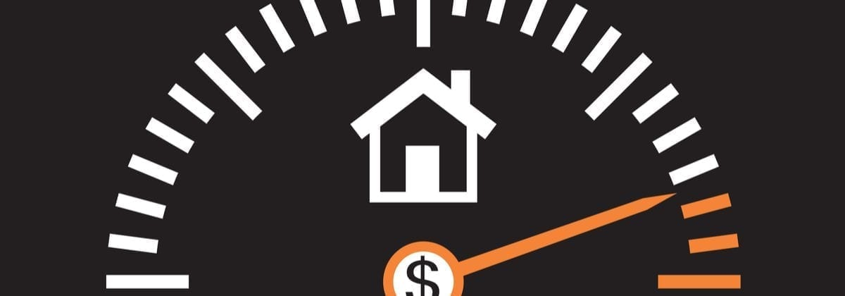 Image of a house with a dial similar to a speedometer that symbolizes average rental rates