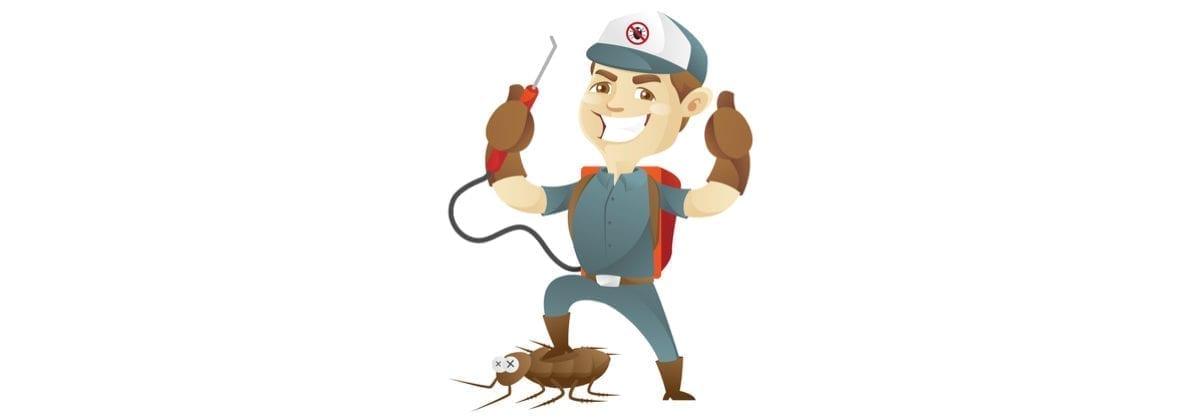 Man in a grey uniform holding a red sprayer stepping on a bug