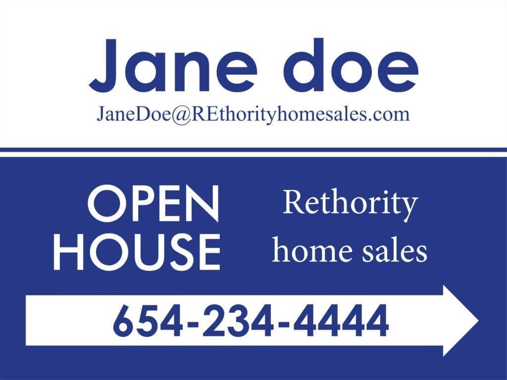 A real estate yard sign for Jane Doe