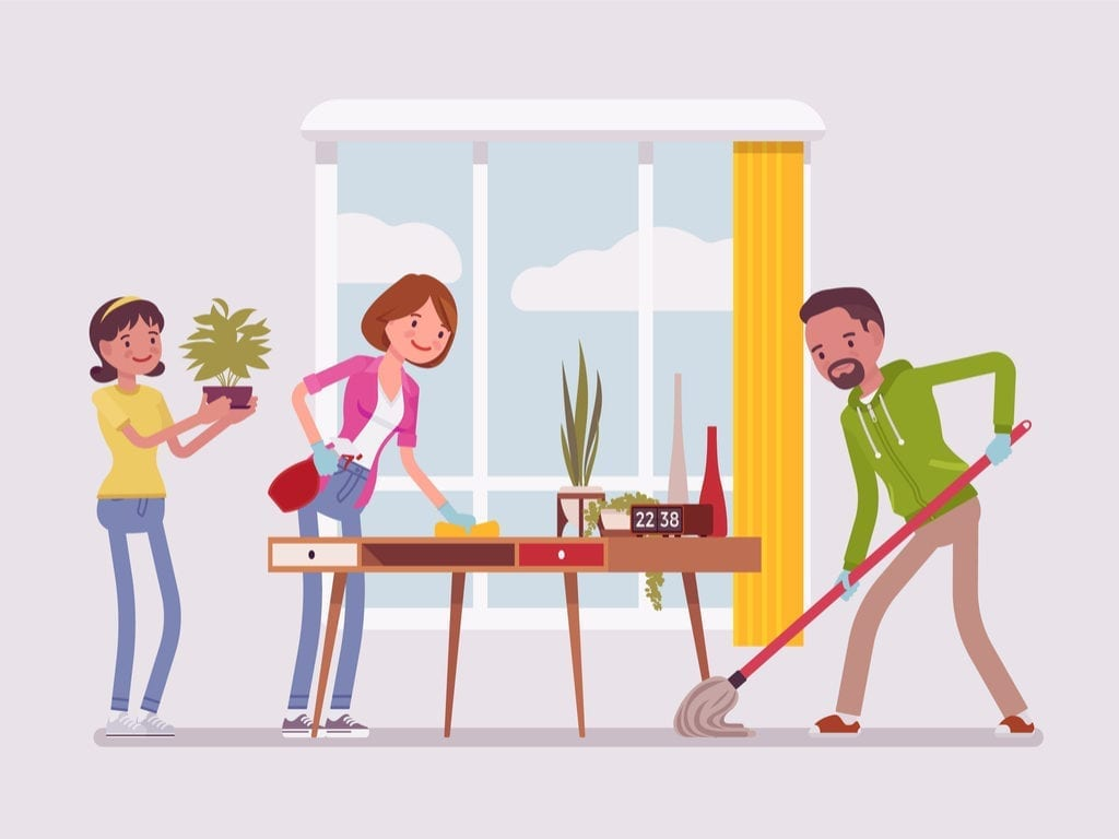 Vector image of a family preparing their home for sale by cleaning and tidying it up