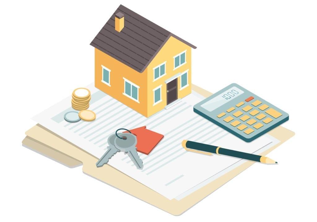 Image of a small house sitting on a manilla file folder alongside a pen and calculator