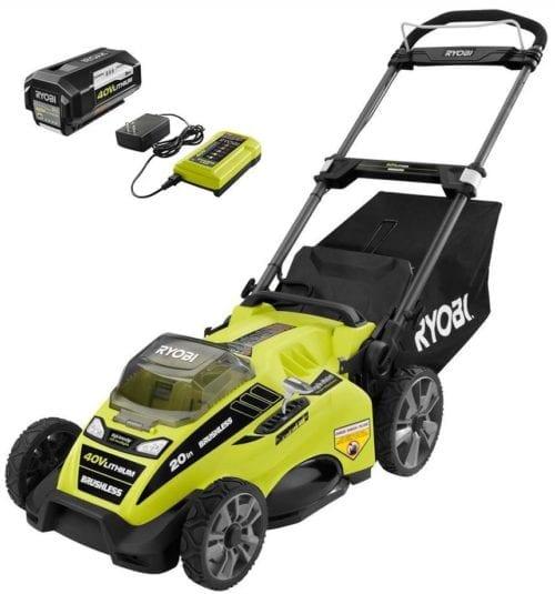 Ryobi 20 in. 40-Volt Brushless Lithium-Ion Cordless Battery Walk Behind Push Lawn Mower