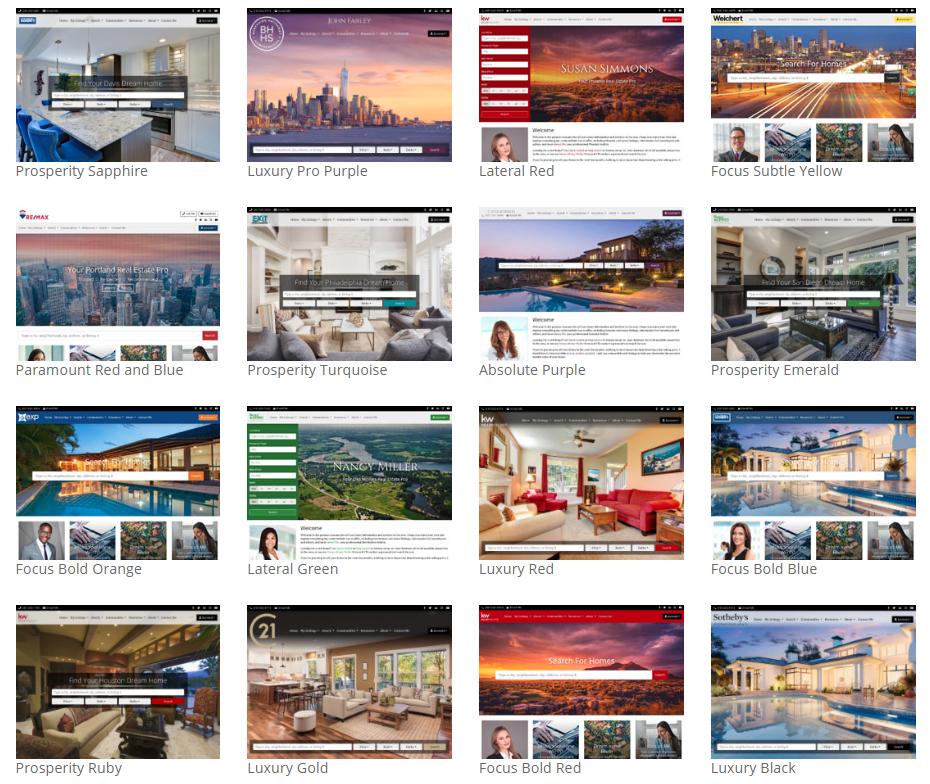 Screenshot of a few of the many iHOUSEweb IDX website templates